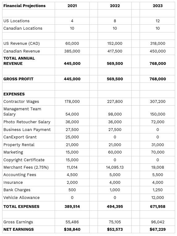 Photography Business Financial Report