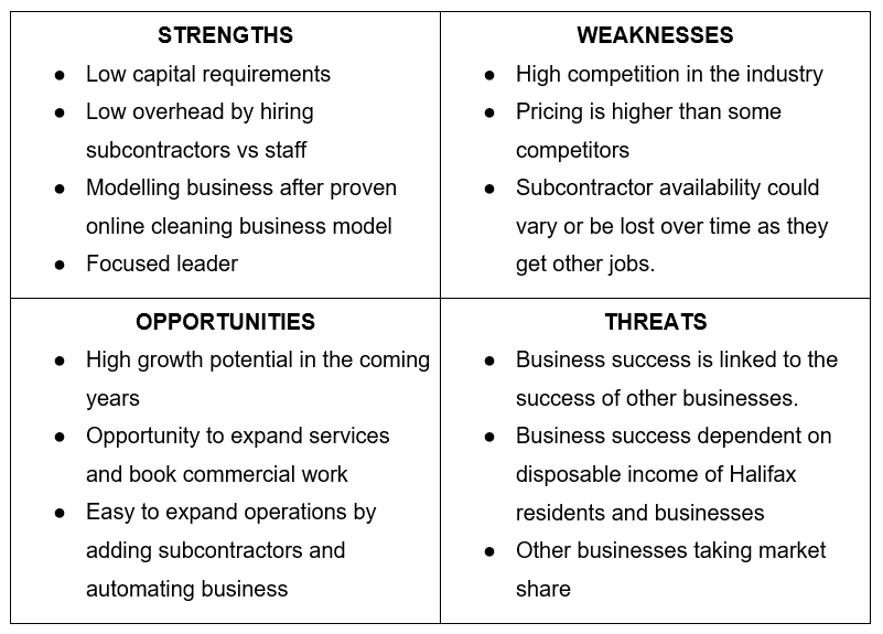 A cleaning business swot analysis